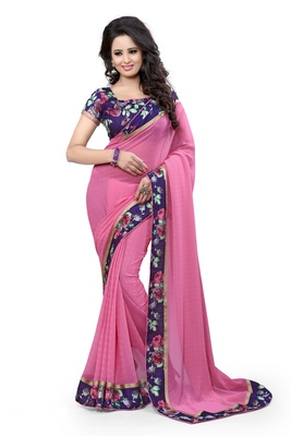 Pink Plain Pure Georgette Saree With Blouse