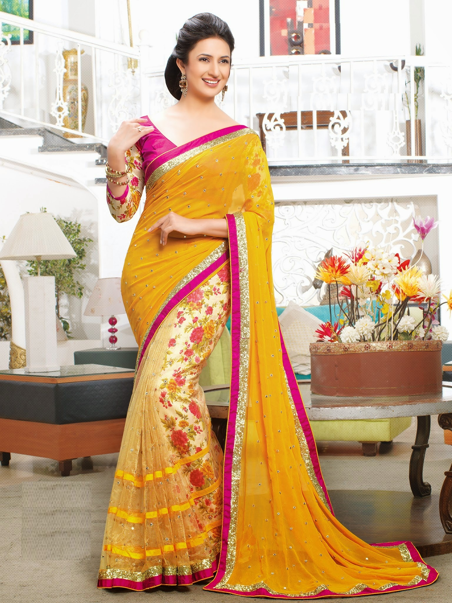 d386f69181 yellow printed faux chiffon saree with blouse - lovely fashion - 968866