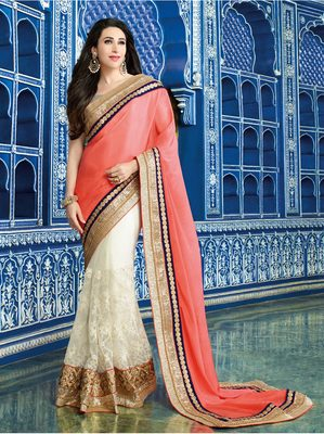 white plain georgette saree with blouse
