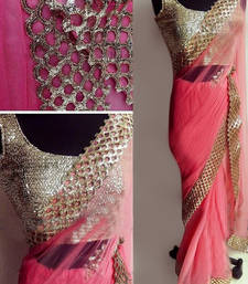 Buy Adorn Fashion Peach embroidered georgette Saree with blouse net-saree online