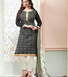 Buy Black embroidered chanderi cotton silk unstitched salwar with dupatta dress-material online