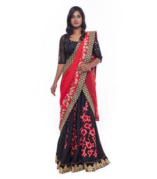 Buy Black embroidered silk stitched lehenga choli readymade-lehenga-choli online
