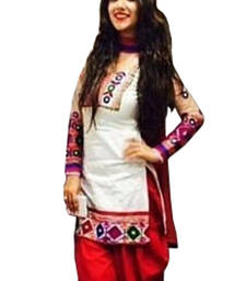 Buy White cotton embroidered semi stitiched salwar with dupatta cotton-salwar-kameez online