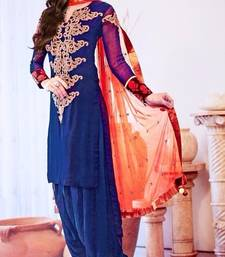 Buy Blue georgette embroidered semi stitiched salwar with dupatta punjabi-suit online