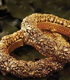 Buy Classy Looking Gold Studded Bangle Pair wedding-season-sale online