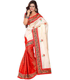 Buy cream brasso art silk saree with blouse traditional-saree online