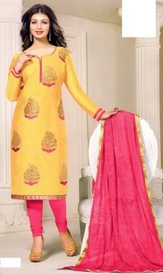 Yellow Embroidered Chanderi Silk Unstitched Salwar With Dupatta
