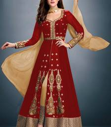 Buy Red embroidered faux georgette semistitched salwar with dupatta salwar-kameez-below-2000 online