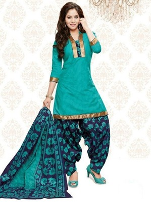 Green printed Cotton unstitched salwar with dupatta