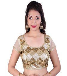 Buy Gold embroidered net blouse
