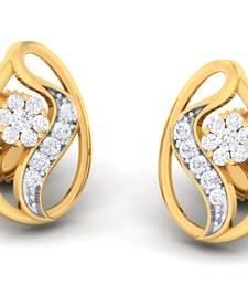 Buy 18Kt Yellow Gold  Bejeweled Emerald Pouch Tops By Jewellery Bazaar stud online