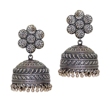 Oxidised Black Metal Jhumka Fashion Earring Jewellery