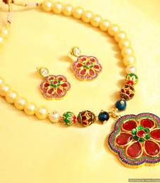 Flower Shaped Multicolour Pearl Necklace Set
