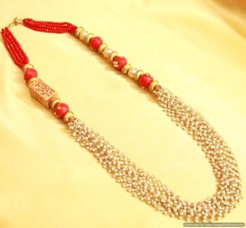 Red Indowestern Maala Necklace Set