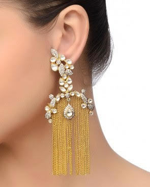 designer danglers 18K GOLD PLATED VICTORIAN FINISH earrings