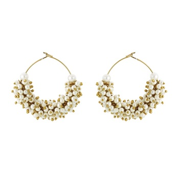 Cluster White Pearl Antique Bollywood Fashion Earring For Women