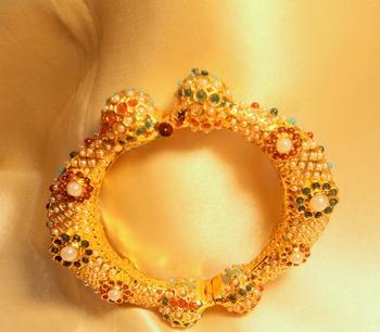 Gold Plated Navratna Royal Broad Sideopen Kara