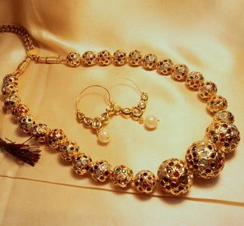 Gold Plated Multicolor Jaipuri Beads Mala With Kundan Bali