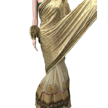 Golden Embroidered Faux Saree With Blouse