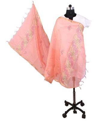 Womens cottage peach chanderi floral design with golden border design  dupatta
