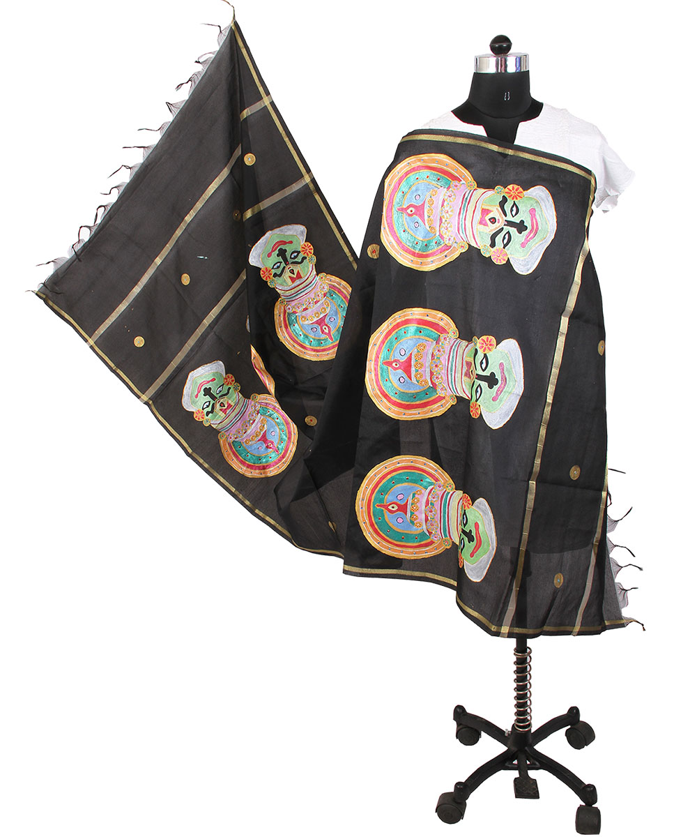 aba7285137ed Womens cottage black chanderi kathakali face design with golden border  design dupatta