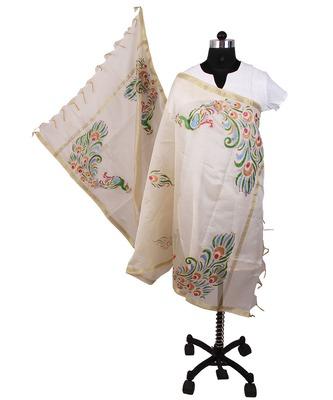 Womens cottage white chanderi peacocks with golden border design dupatta