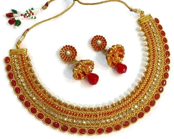 Grand red pearl polki necklace set