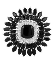 Sterling Silver Black Spinel And Cubic Zirconia Ring shop online