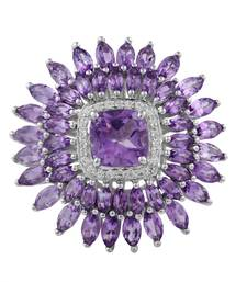 Buy Sterling Silver Amethyst and Cubic Zirconia Ring by gemstone-ring online