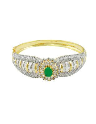 Emerald Green CZ AD American Diamond Kada Jewellery for Women - Orniza