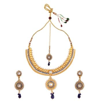 Blue polki necklace sets