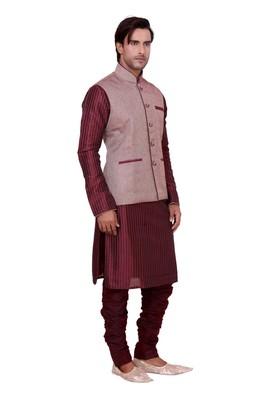 Maroon Raw Silk Kurta Pyjama