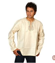 Buy Elegant Tusser Cotton Kurta with Paisley leaf Pattern men-kurta online