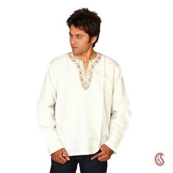 Elegant Cotton Kurta with Embroidered V-neck Pattern