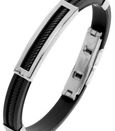 Buy Black metallic mens accesories men-bracelet online