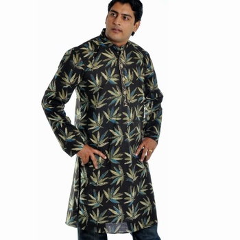 A Natural Touch Blackish Green Cotton Kurta With Hand Block Daboo Print_02