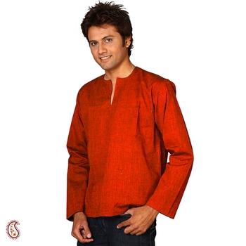 Rust Orange short cotton kurta