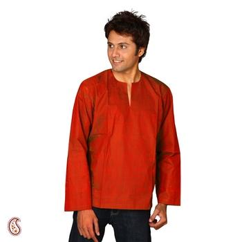 Brick Red short cotton kurta