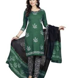 Buy green cotton printed unstitched salwar with dupatta dress-material online