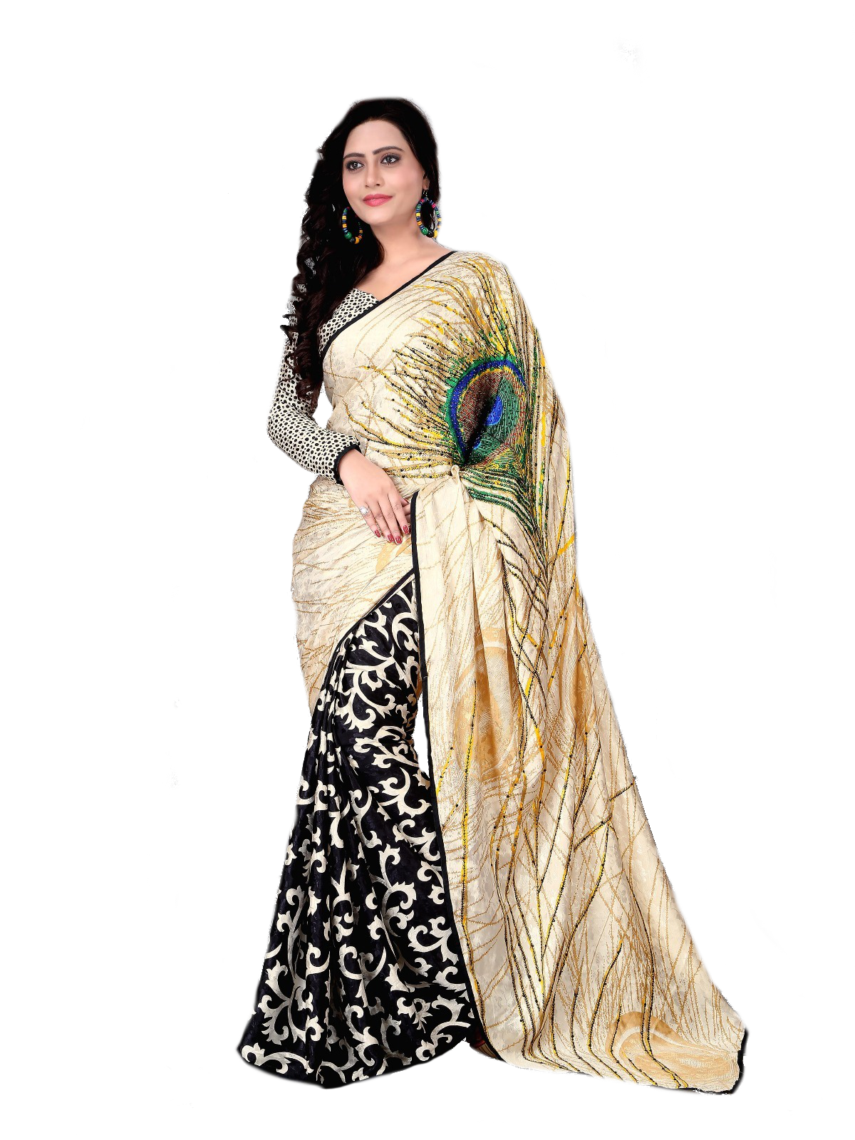 13c50b31f4 multicolor embroidered silk saree with blouse - Om Creation - 983396