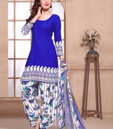 Buy Blue crerpe printed unstitched salwar with dupatta dress-material online