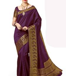 Buy Purple woven banarasi silk saree with blouse banarasi-silk-saree online