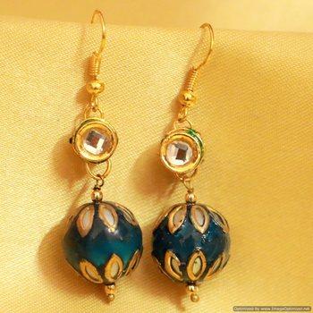 Kundan Meenakari Dangling Earrings