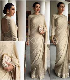 Buy Off white net saree with Half georgette Parsi thread work  bollywood-saree online