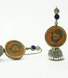 Buy orange peacock miniature art jhumka jhumka online