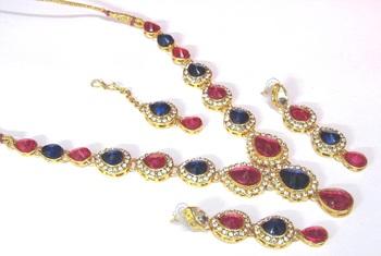 Pink and blue Tilak stone Necklace set