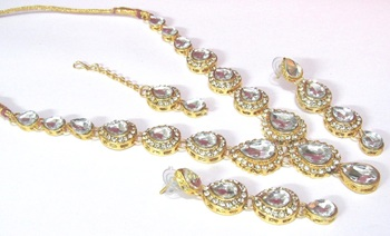 White Tilak stone Necklace set