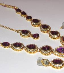Buy Purple Tilak stone Necklace set necklace-set online