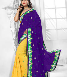 Buy Yellow embroidered georgette saree with blouse printed-saree online