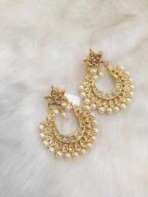 kundan work gold plated beautiful pearl earrings